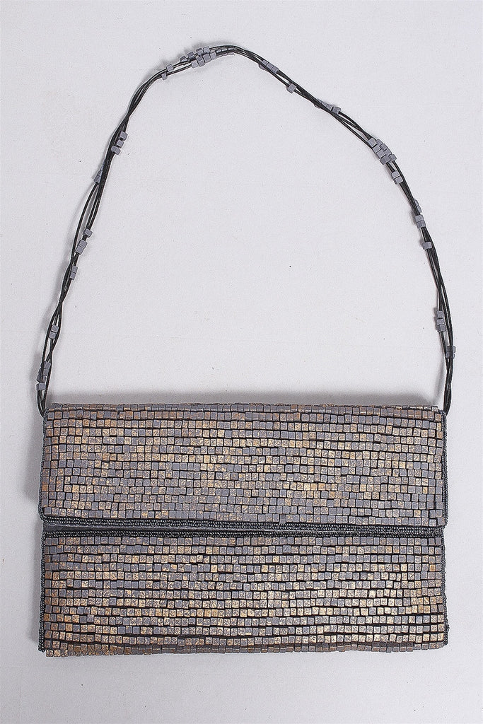 Hand Painted Wooden Beads Clutch in Gray/Gold C-CT1601 - GRY/GOLD