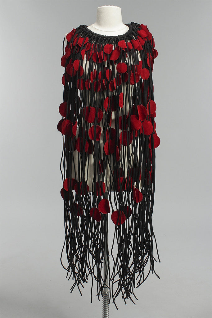 Jianhui Black Textile Cord Cape in Red Suede