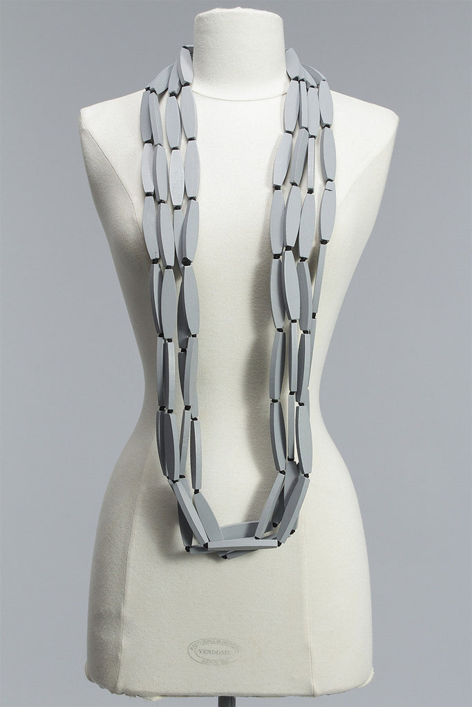 Long Flat 4 Strand Necklace in Gray C-JNL1507FT - GREY