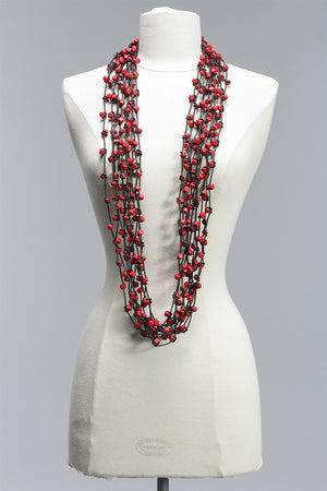 Rubber Strand 8x8 Beads (10) in Red C-JNL1612 - RED