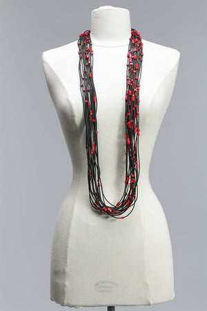 Rubber Strand 5x5 Beads (20) in Red C-JNL1631 - RED