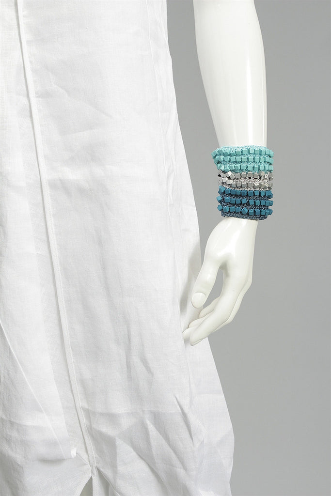 Crocheted Single Sided Bracelet in Turquoise/Gray/Teal JCRCHTSSIDEBR - TRQGRYTL