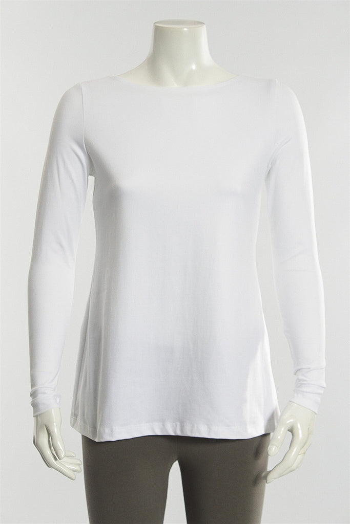 Boat Neck Long Sleeve in White A'Nue Ligne Boat Neck Long Sle - WHITE