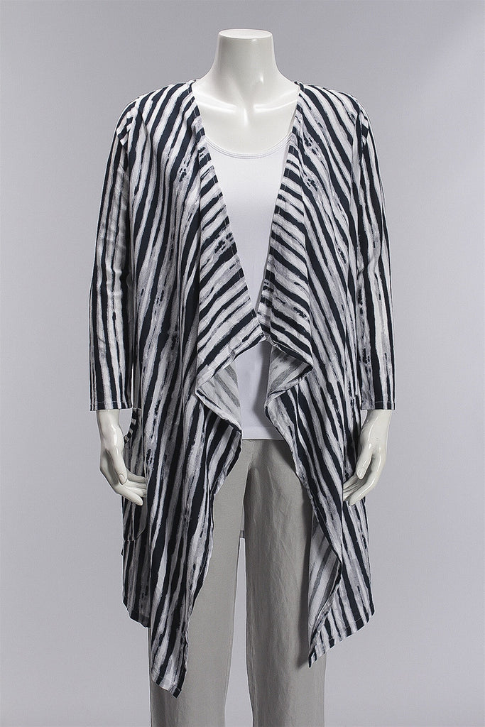 Brush Stripe Long Cardigan in Blue/White 2080A311X - BLUE/WHT