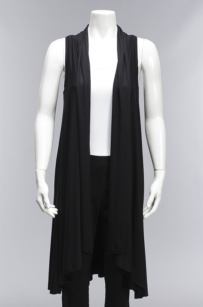 Long Vest in Black M760 - BLACK