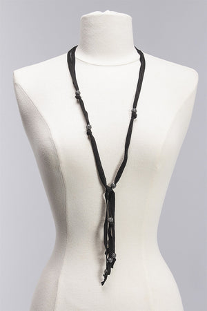 Suede with Pave Necklace in Black N106 - BLACK