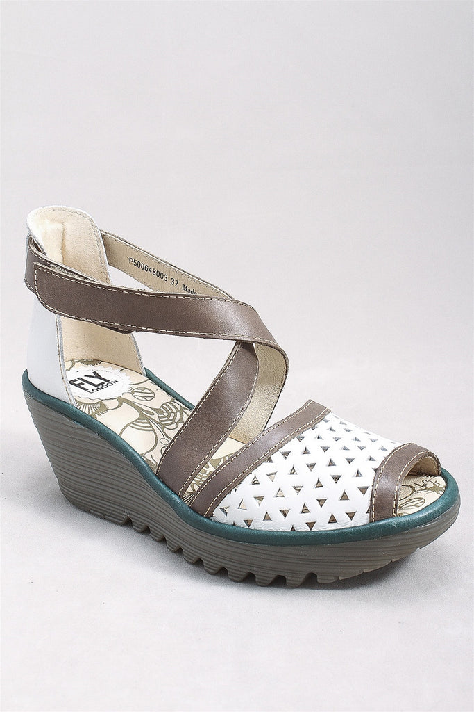 Ynes Rug Sandal in White and Gray  YNES648 - WHTGRYP