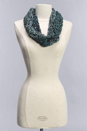 Fishnet Hand Painted Infinity in Teal Black and Turquoise Black