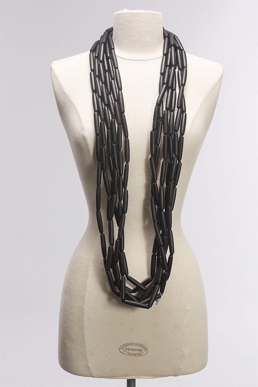 6 Strand Tube Necklace in Black C-NL1507-S16 - BLACK