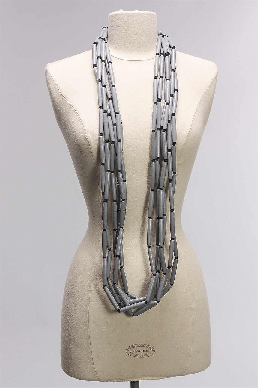6 Strand Tube Necklace in Gray C-NL1507-S16 - GREY