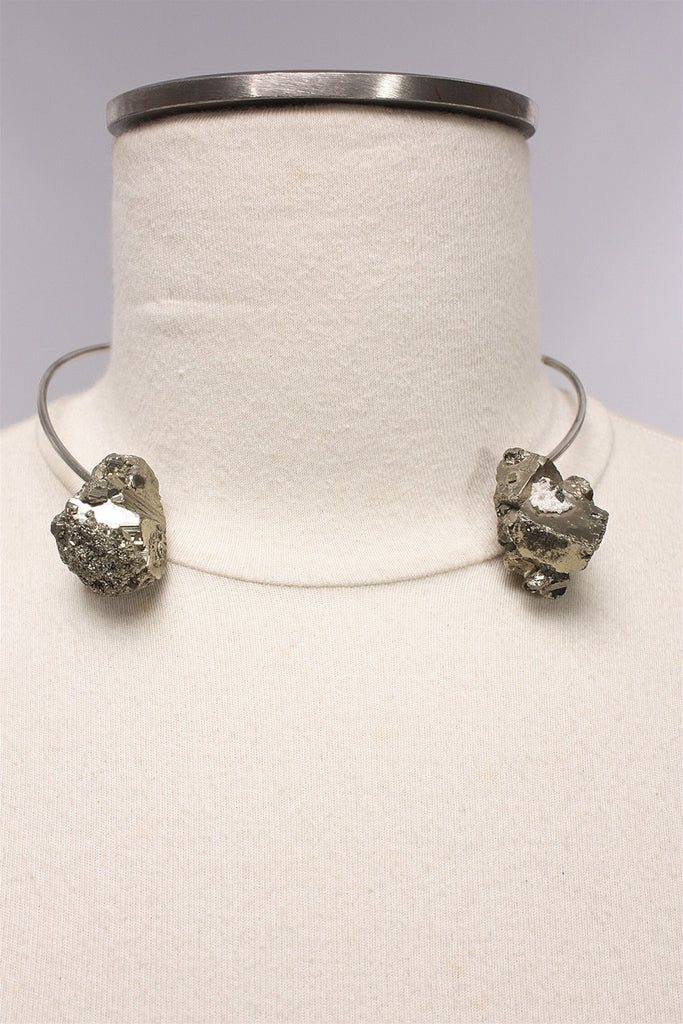 Pyrite Torc in Silver AW1760 - SILVER
