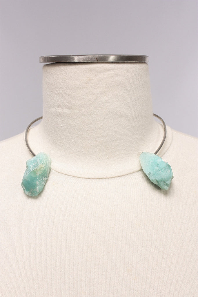 Amazonite Torc in Silver AW1724 - SILVER