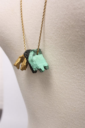 Malachite Necklace in Gold AW1728 - GOLD