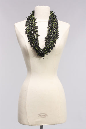 Rubber with Wooden Beads in Green/Black NL1625 - SGRN/BLK
