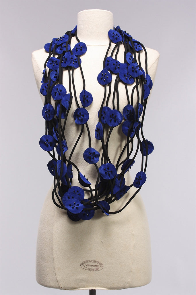 10 Strand Suede w Crystal in Electric Blue/Black NL1529 - EBLU/BLK