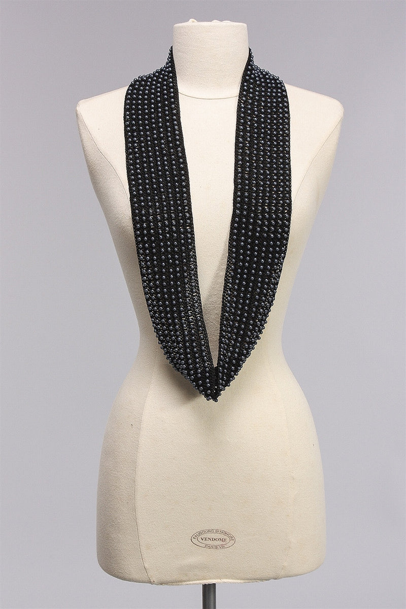 8 Row Faux Pearl Scarf in Gray/Black SC1677 - GREY/BLK