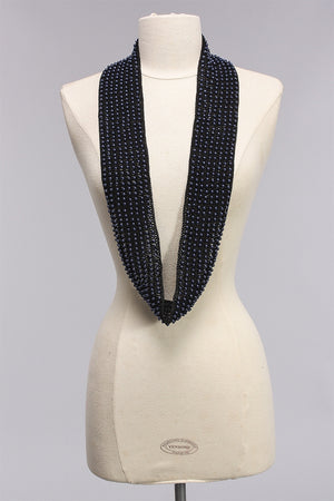 8 Row Faux Pearl Scarf in Blue/Black SC1677 - BLUE/BLK