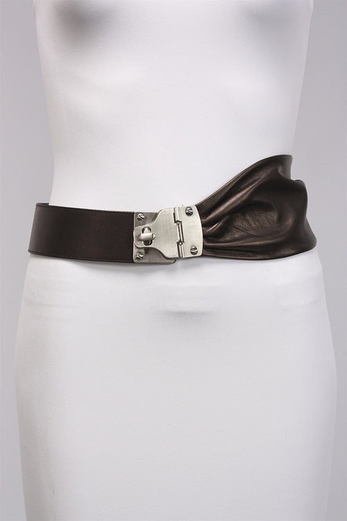 Bronze Leather Belt in Brushed Nickel 7235 - BRSHNCKL