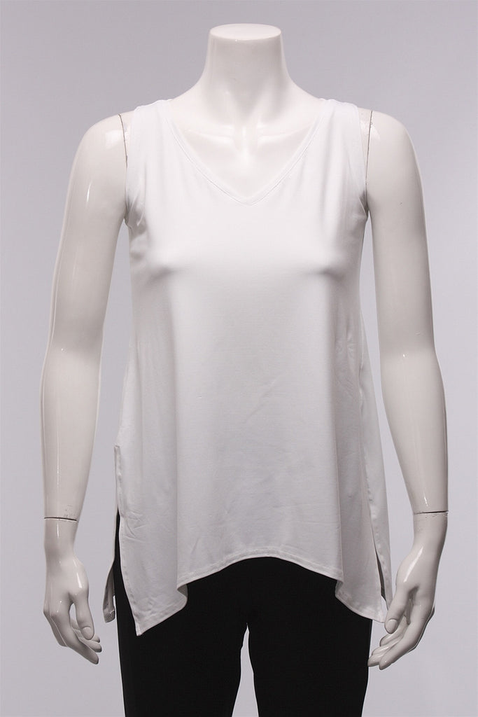 Sleeveless Go To V-Neck in White 21112R - WHITE