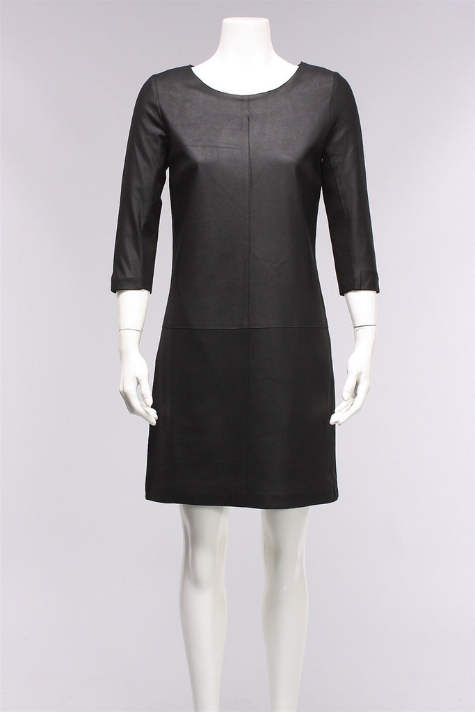 A-Line Front Leather Dress in Black LMT1688  - BLACK