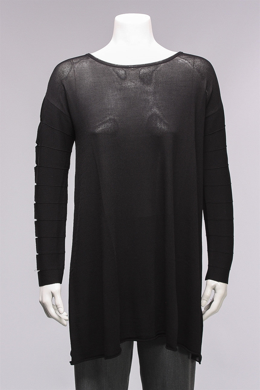 Sleeve Detail Tunic in Black 166-0129-1095 - BLACK