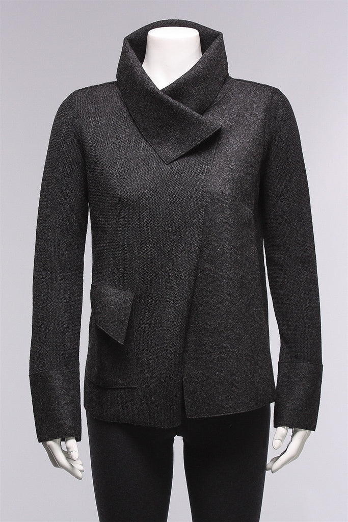 Asymmetric Cardigan in  Charcoal ATW605  - CHARCOAL