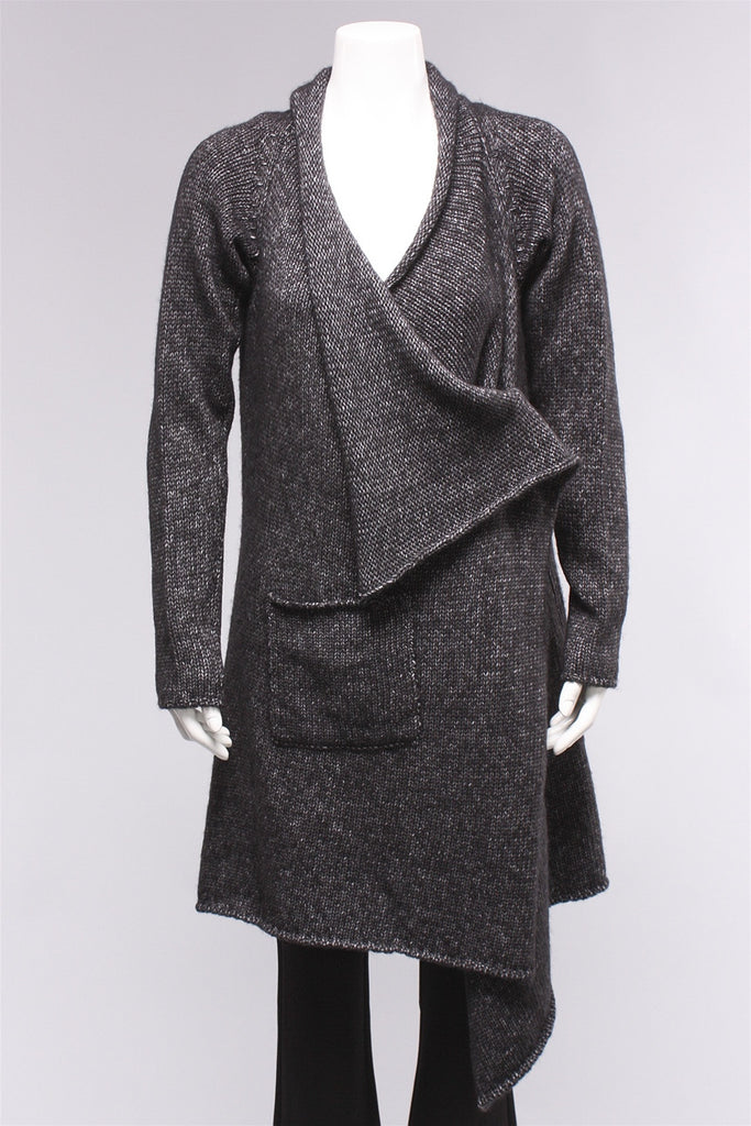 Long Knitted Cardigan in Black 2163807204  - BLACK