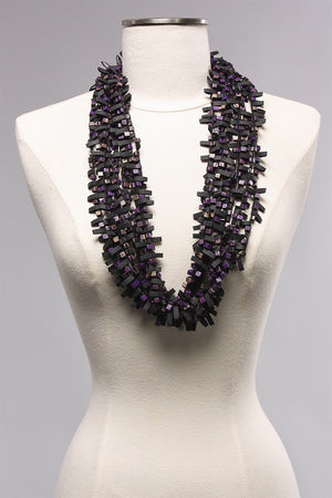 Rubber w Wooden Beads in Purple/Gold  C-NL1625 - PRL/GLD