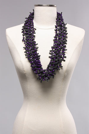 Rubber w Wooden Beads in Purple C-NL1625 - PURPLE