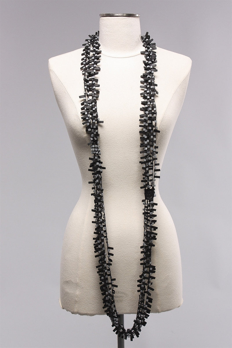 Rubber w Wooden Beads in Grey C-NL1625 - GRAY