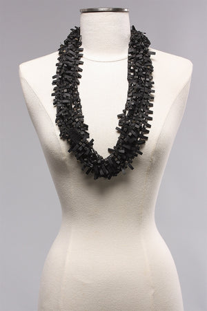Rubber w Wooden Bead in Dark Black/Brown  C-NL1625  - DRKH22