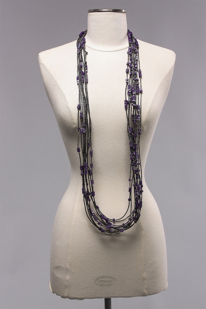 Rubber Strand 5x5 Beads (20) in Purple/Silver C-NL1602  - PURP/SLV
