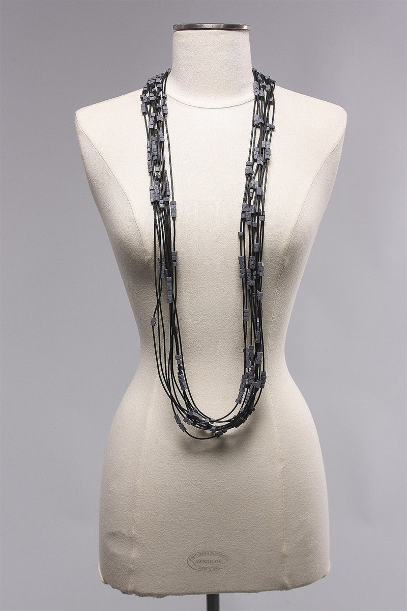 Rubber Strand 5x5 Beads (20) in Dark Gray  C-NL1602 - DRKGRAY