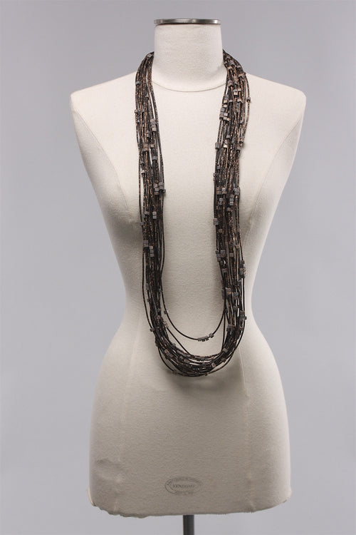 20 Rubber Strand Hand painted in Grey/Gold  C-NL1631HP - GRAY/GLD