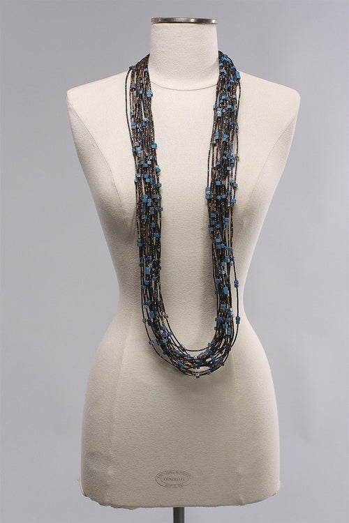20 Rubber Strand Hand painted in Blue/Gold  C-NL1631HP - H26/GLD