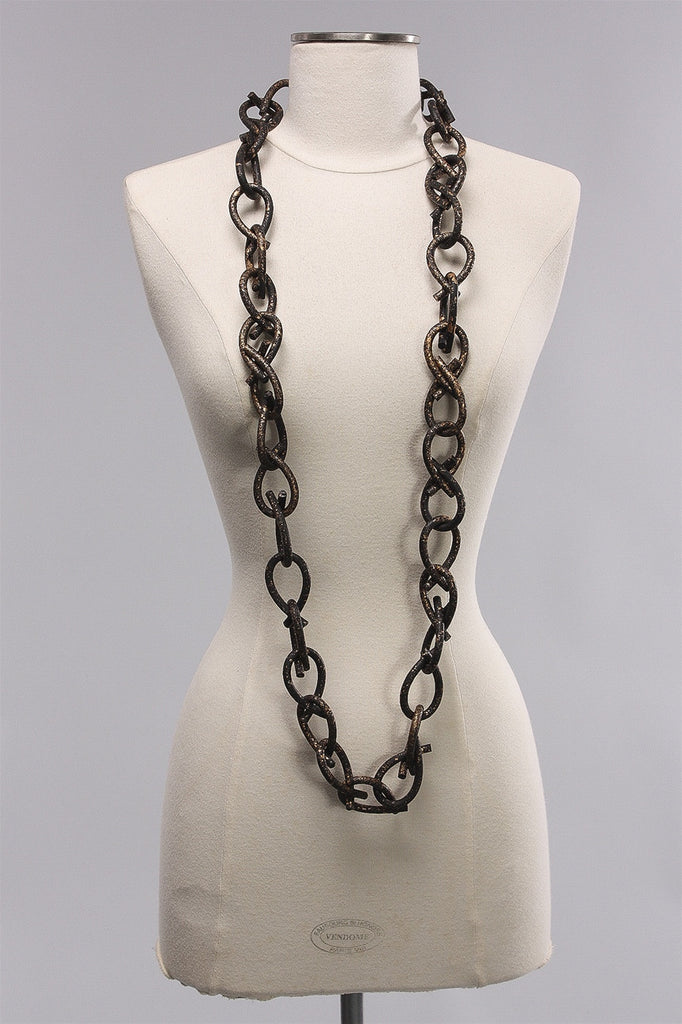 6mm Rubber Hand Painted Chain in Black/Gold  C-NL1644HP - BLCK/GLD