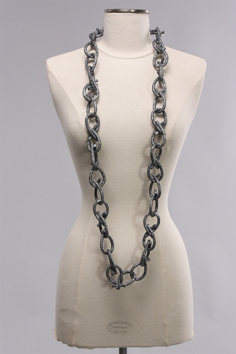 6mm Rubber Hand Painted Chain in Grey/Silver  C-NL1644HP - GRAY/SLV
