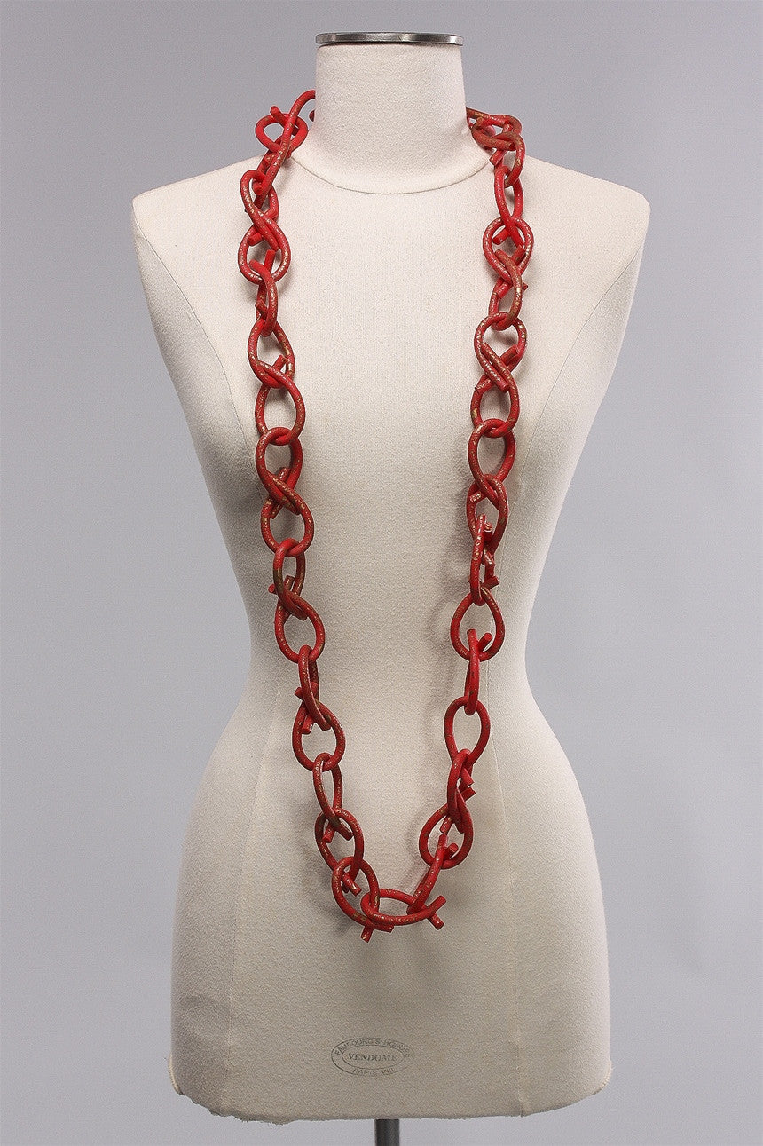 6mm Rubber Hand Painted Chain in Red/Gold  C-NL1644HP - RED/GLD
