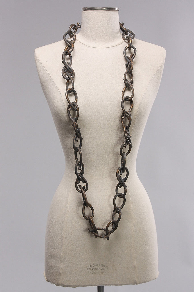 6mm Rubber Hand Painted Chain in Grey/Gold  C-NL1644HP - GREY/GLD