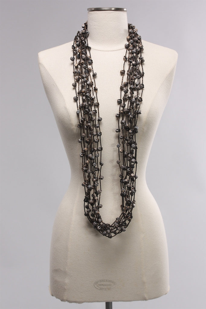 Rubber 10 Strand Beads in Grey/Gold C-NL1612HP - GRY/GLD