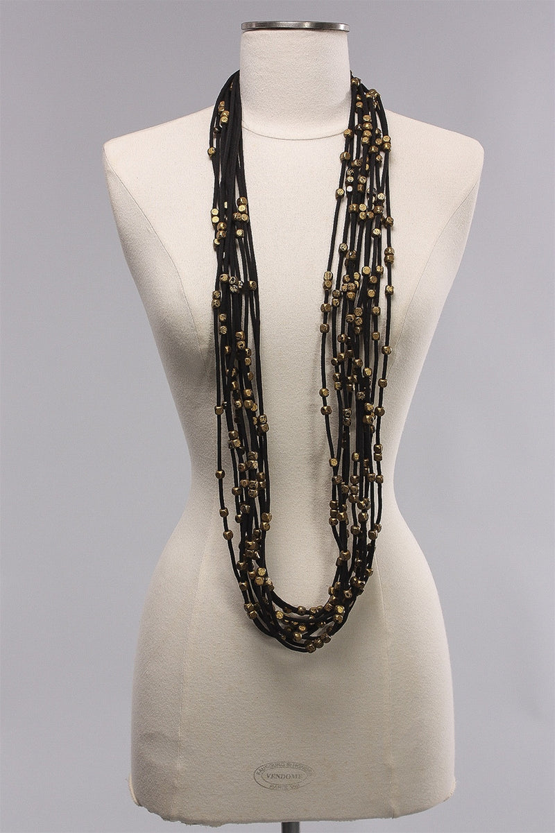10 Thick Strand 5x5 Beads in Gold/Black C-NL1748HP - GLD/BLK