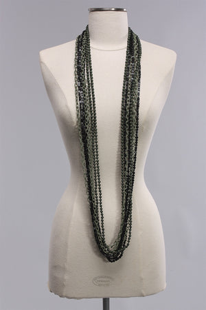 Chain with Beads in Black/Green C-NL1604  - BLK/GRN