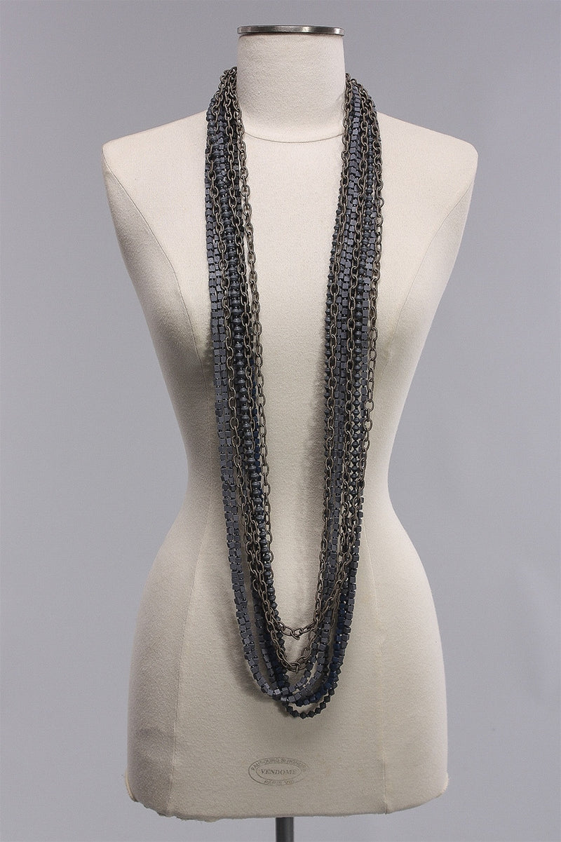 Chain with Beads in Gray/Navy C-NL1604  - GRY/NVY