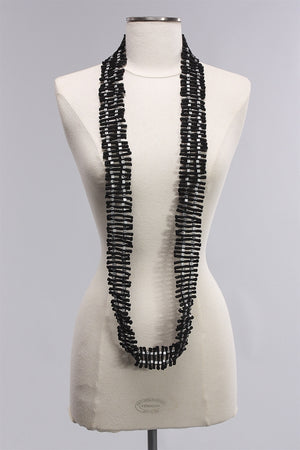 DNA Collection Necklace in Silver/Black C-NL1688HP  - SLVR/BLK