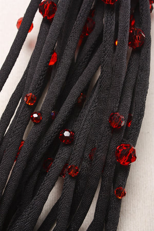 22 Strand Choker in Black and Red
