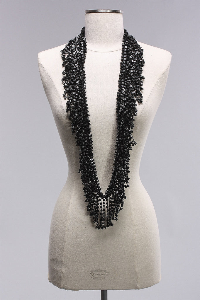 Long Wood Beads Tassel in Black/Silver C-NL1648 - BLK/SLV