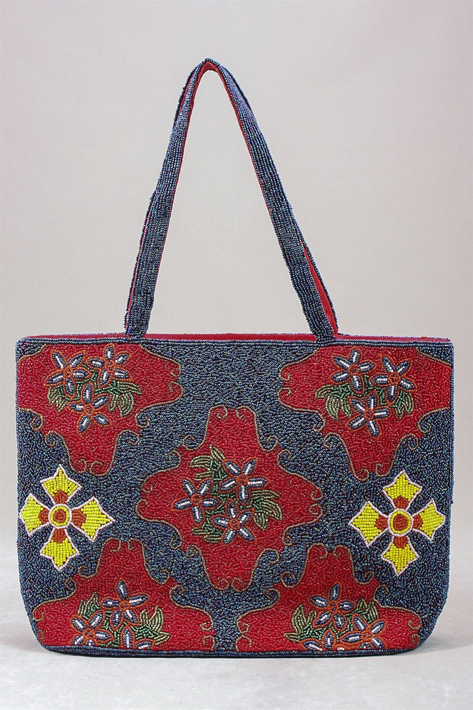 Beaded Purse in Blue/Red C-P5 - BLURED