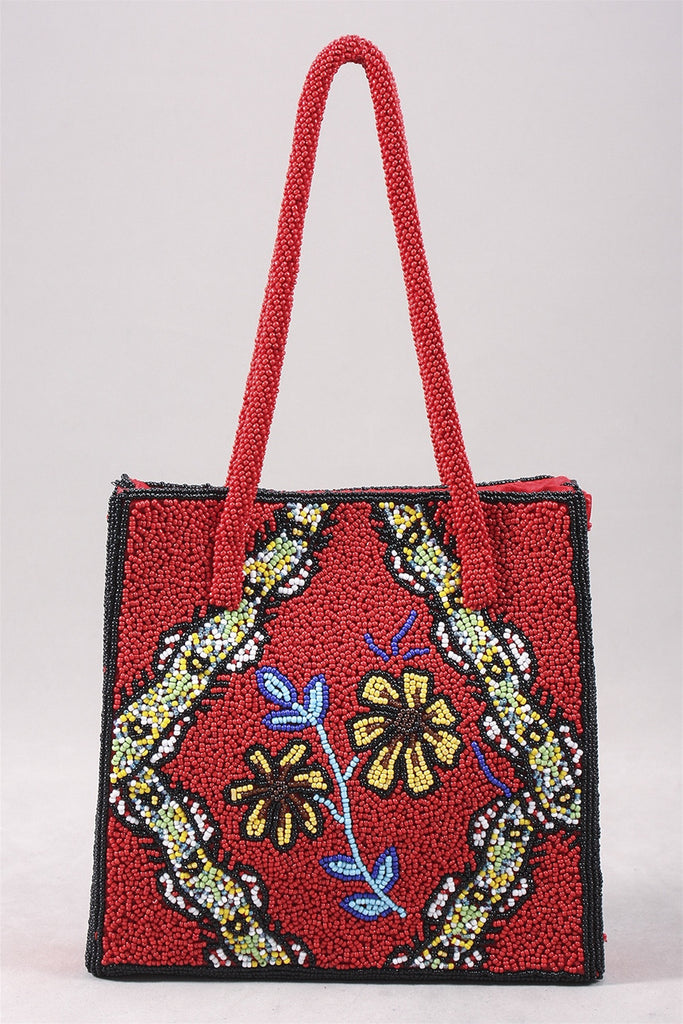 Jianhui Beaded Purse in Red