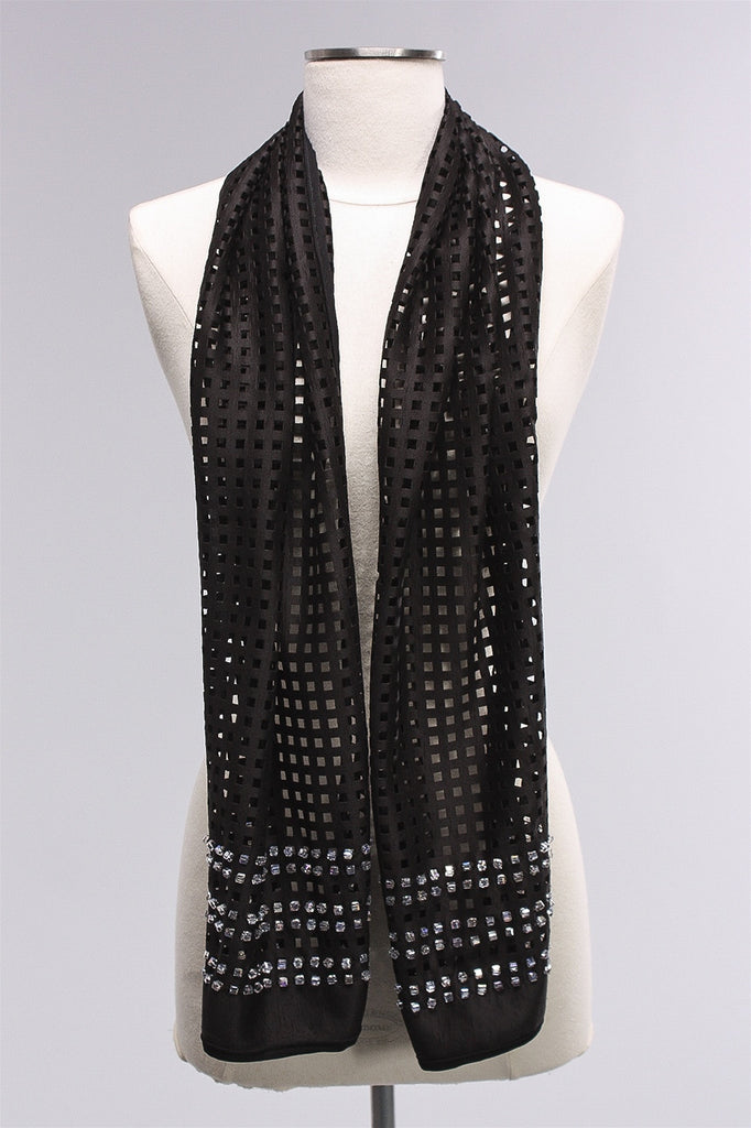 Cut Out Scarf with 6 Rows in Crystal and Black