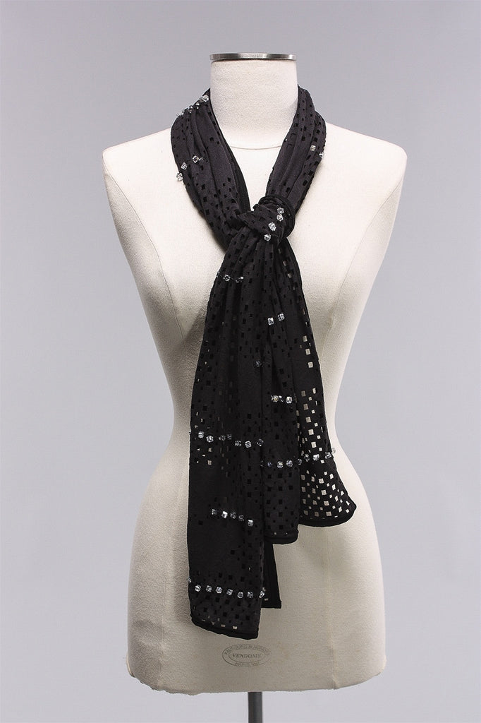 Jianhui Cut Out Scarf with Crystals in Black